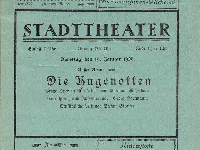 Die Hugenotten - Anzeige im Programmheft 1925/26 mit Setzfehler in der Jahreszahl.